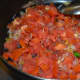 Step seven: Throw in chopped tomatoes. Cook on high heat till they become shape less. Turn off the stove.