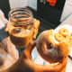 Delicious sugar donut with iced coffee.