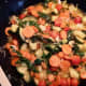 This is my latest version of a spaghetti veggie starter mix.  This mix was later canned and features zucchini, cherry tomatoes, carrots, celery, onions and arugula.
