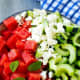 watermelon salad with feta and cucumber