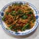 Rice Drops in Dongcai Mushroom Pork sauce.