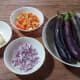 Most of the ingredients for the eggplant salad.
