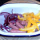 Cocktail sausages, red onion and yellow bell pepper