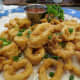 Fried calamari, crispy and delicious with a sweet and spicy dipping sauce