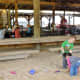 Covered sandbox for the kids
