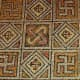Part of a decorative mosaic which can be found on the floor of a 4th century AD Roman villa at La Olmeda in Spain
