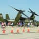 """An MV-22 Osprey, Bu Number 168332, at Dulles IAP, September 2017.  The MV-22s of HMX-1 has flown VIPs but for safety concerns has not, as of May 13, 2018, flown as """"Marine One""""."""