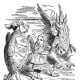 A turtle dances with a Gryphon in Alice in Wonderland.