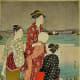 Women of the middle Edo Period wearing stylish wide obi. Print by Kiyonaga
