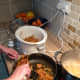 Prepping the dish for the slow cooker - Lamb and Leek Curry