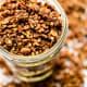Crunchy chocolate and almond butter buckwheat granola