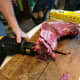 Cut in between the ribs, aiming to stop short of bone as you reach the vertebrae. Steaks will often be about 1 inch thick.