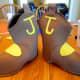 Use a hot glue gun to attach the cutouts to the boots.