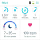 Measurements from the Fitbit Aria automatically sync with your Fitbit app over wifi and display on the app's main dashboard. Mine looks a bit inactive, but this is only because I have lost and not gained weight and have a weight gain goal in the app.