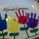 """Using a black ceramic marker, I wrote out """"Mimi's Garden"""" above the flowers."""