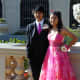 Brian Lee and his date, Rachel, look smashing in their matching Gerber daisy corsage and boutonniere.