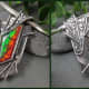 This shows how the backplate shape and texture echo the lizard skin ammolite pattern and continue on the integrated bail and onto the pendant back.