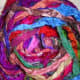 Sari ribbon is also good for crochet and knitting and is also flexible. It produces a more textured result.