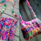 These cute bags are fun projects using brilliantly coloured sari yarn.