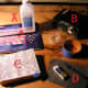 Tools: A. pencils, brush, rubbing alcohol B. Colwood Detailer C. blue tape, container for alcohol D. carbon paper, dried-out rollerball pen, eraser E. box and tracing paper.