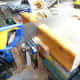 Cutting out the slotting joint in the inner shelving supports.