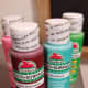 My favorite brand of acrylic paint, Apple Barrel brand, is inexpensive and available in a wide array of colors.