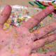 rainbow crayon debris photo op
