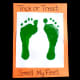"""Add green footprints to a white sheet of paper with the title """"Trick or Treat, Smell My Feet""""."""