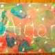 A colorful painting displaying my youngest son's name.