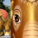 'Royal Elephant Gold' by Chakrit Choochalerm—With its regal headdress, 'Royal Elephant Gold' had pride of place at the front of the Lumpini Park parade as a 'symbol of auspiciousness and intelligence'