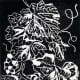 Linocut of Grapes created by Peggy Woods