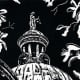 Linocut titled May Justice Prevail by Peggy Woods - Fort Bend County Courthouse in Richmond, Texas