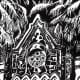 Linocut of Eaton Memorial Chapel in Galveston, Texas created by Peggy Woods