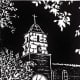 Untitled Linocut (Mission-style Church in McAllen, Texas) by Peggy Woods