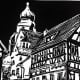Linocut titled Herrenberg, Germany created by Peggy Woods