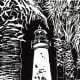 Linocut of Port Isabel Lighthouse by Peggy Woods