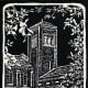 Untitled Linocut (St. Matthew Lutheran Church in Houston, Texas) by Peggy Woods