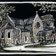 Linocut titled Medieval Inspiration (Hand Colored) by Peggy Woods - Our Lady of Walsingham Church in Spring Branch, Texas