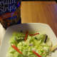 Tortilla strips are crunchy chips made to garnish salads.