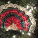 A closer look at the Victorian fan ornament made from plaid ribbon.