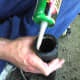 Apply the adhesive to the inner rim of a mortar tube before plugging.