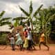 OCC shoeboxes delivered by bike in Uganda.