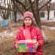 A girl holding her shoebox in Moldova.