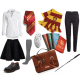Combine your clothes with fun and evocative accessories, like a satchel and school books.