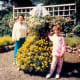 My mother and niece next to a topiary bride at Columbia Gorge Hotel