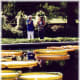 My mother and friendly host Mary are next to those large water lilies in the Missouri Botanical Garden.