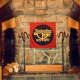 Massive stone fireplace in Timberline Lodge / 50th Anniversary of Timberline Lodge was being celebrated