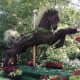 An ecosculpture of a carousel horse