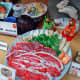 Plastic food on display in front of a restaurant