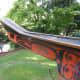 A canoe carved by Canadian artist Bill Reid